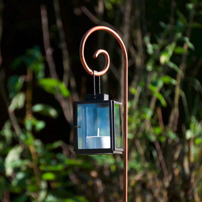 Tuteur métallique de jardin GUSTAV cuivre avec photophore