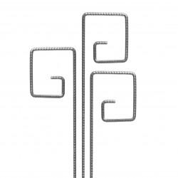 3 Tuteurs métalliques de jardin PIET fer cannelé