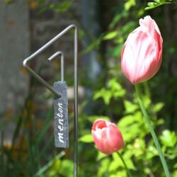 Tuteur métallique de jardin PABLO fer 6 avec étiquette ardoise languette