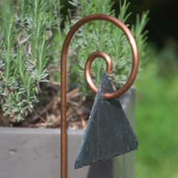 Tuteur métallique de jardin GUSTAV cuivre avec étiquette ardoise triangle