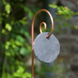 Tuteur métallique de jardin GUSTAV cuivre avec étiquette ardoise ronde