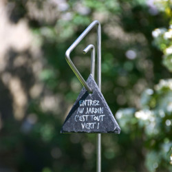 Tuteur métallique de jardin PABLO inox 6 avec étiquette ardoise triangle
