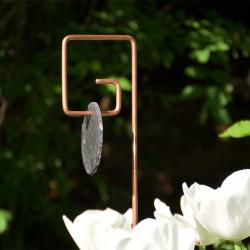 Tuteur métallique de jardin PIET cuivre avec étiquette ardoise ronde