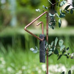 Tuteur métallique de jardin PABLO cuivre avec étiquette ardoise languette