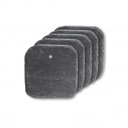 Etiquette ardoise carrée coin arrondie pour porte-étiquette, lot de 5.