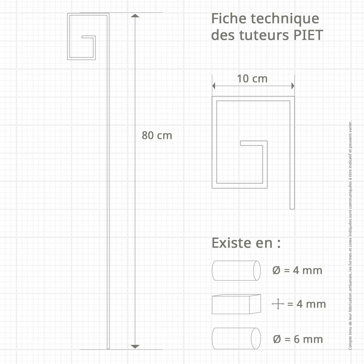 Le Jardin de Léon - Prototype de tuteur métallique - Modèle PIET